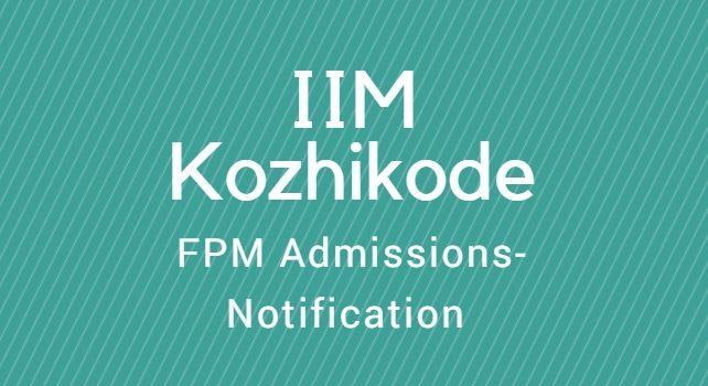 IIM Kozhikode FPM Admissions