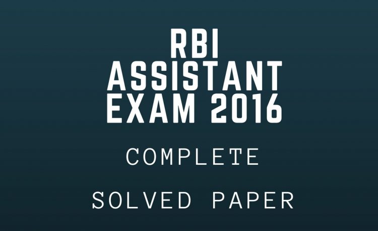 RBI Assistant Question paper 2016
